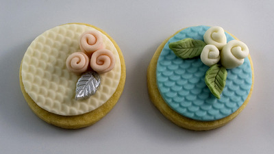 Sweet Isabelle's wedding cookies decorated with marshmallow